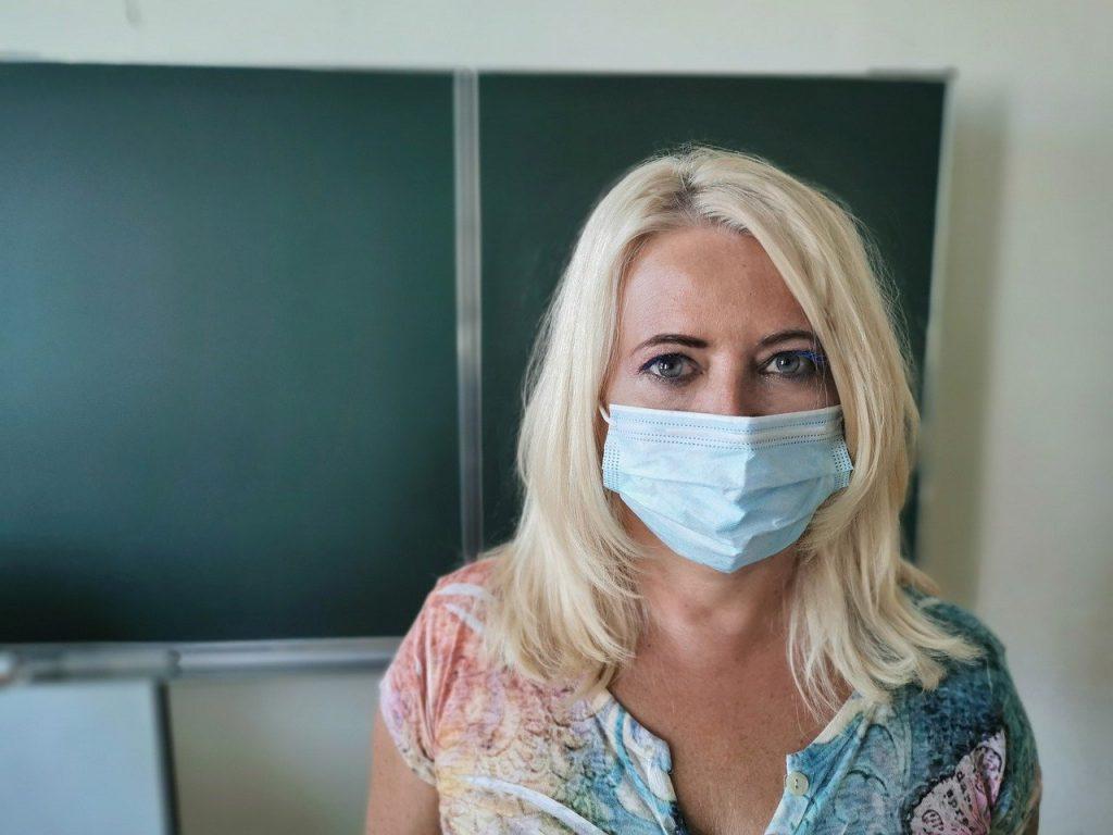teacher, mask, woman