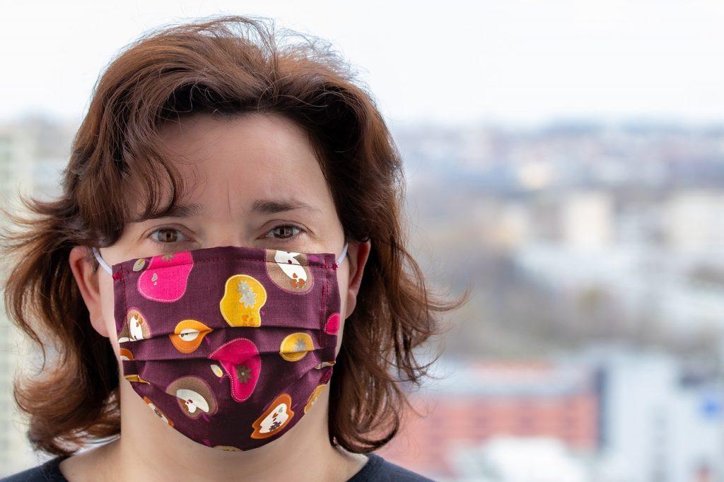woman, face mask, pandemic